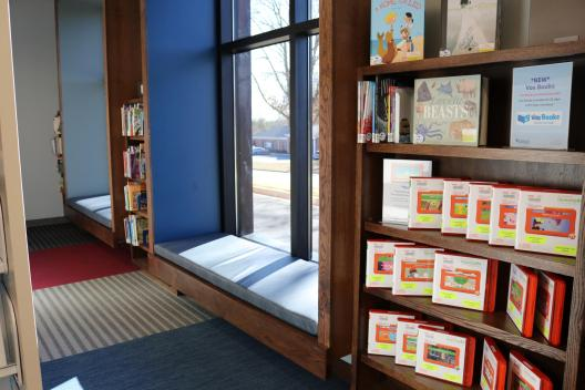 Bay windows and shelving in Children's Area