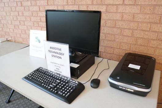 Assistive technology station at Hughes Main Library