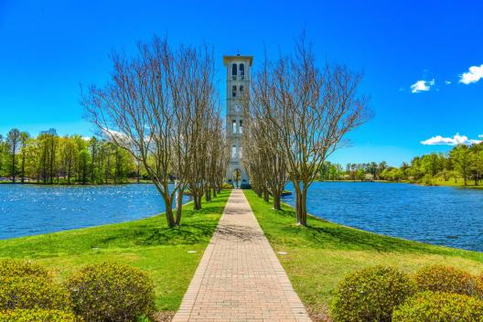 Nearby Furman University's Bell Tower, originally constructed in 1854